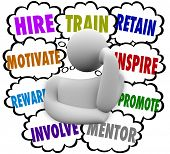 Постер, плакат: A business person thinking of ways to motivate and retain employees with thought clouds containing t
