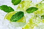 foto of peppermint  - lime slices with ice and peppermint leaves - JPG