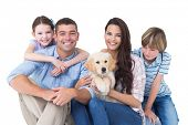picture of puppies mother dog  - Portrait of happy family with cute dog over white background - JPG