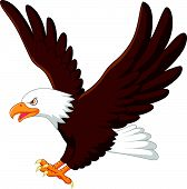 pic of eagles  - Vector illustration of Cartoon eagle flying isolated on white background - JPG