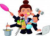 stock photo of multitasking  - Vector illustration of Cartoon multitasking housewife isolated on white background - JPG