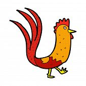 stock photo of cockerels  - retro comic book style cartoon cockerel - JPG