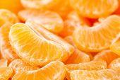 pic of mandarin orange  - macro of mandarine orange slices full frame - JPG