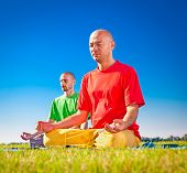 picture of yoga  - Group of young people have meditation on yoga class - JPG