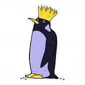 image of emperor  - retro comic book style cartoon emperor penguin - JPG