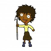 picture of spears  - retro comic book style cartoon crazy woman with spear - JPG
