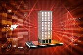 picture of smart grid  - smart phone with real estate concept in color background - JPG
