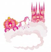 stock photo of carriage horse  - beautiful fairytale pink castle and horse with carriage   - JPG