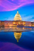 picture of capitol building  - Capitol building Washington DC sunset at US congress USA - JPG