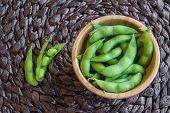 picture of soy bean  - Japanese green soy bean on the table - JPG