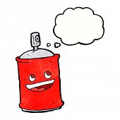 picture of spray can  - cartoon spray can with thought bubble - JPG