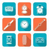 stock photo of watch  - vector white color flat design various types watches clocks icons set long shadow - JPG