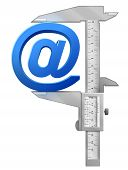 stock photo of measuring height  - Concept of email sign and measuring tool - JPG
