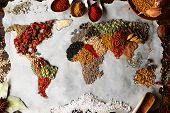foto of cumin  - Map of world made from different kinds of spices - JPG