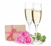 picture of champagne glasses  - Two champagne glasses - JPG