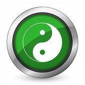 pic of ying-yang  - ying yang green icon   - JPG
