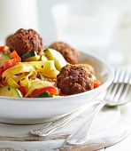picture of meatball  - Tagliatelle with vegetables and meatballs  - JPG