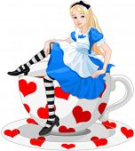 foto of alice wonderland  - Illustration of cute Alice is sitting on cup of tea - JPG