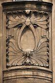 image of building relief  - Floral ornamental decoration on the Art Nouveau building in Prague - JPG