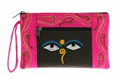 stock photo of nepali  - A small pink bag with symbol Nepali Buddha Eyes - JPG