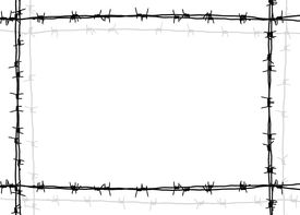 stock photo of barbed wire fence  - barbed wire frame with white background - JPG