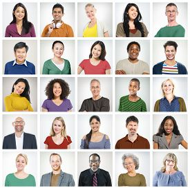stock photo of diversity  - Human Face Set of Faces Collection Diversity Concept - JPG