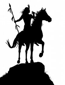 stock photo of bareback  - Illustrated silhouette of a native American Indian warrior riding a horse - JPG