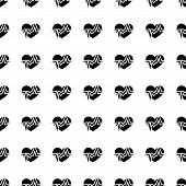 picture of beating-heart  - Heart beat vector icon seamless pattern tiling ornament on white - JPG