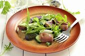 image of quail  - Chicken and vegetable salad with quail eggs - JPG