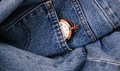 image of denim jeans  - Picture of a blue jeans denim texture and vintage pocket watch - JPG