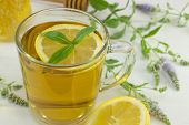 stock photo of mints  - Cold healthy mint tea with lemon on a table with mint plant honeydipper and dessert - JPG
