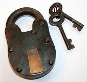 Antique Iron Padlock And Keys