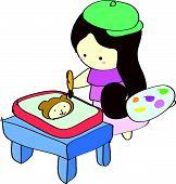 Junges Mädchen Gemälde Bild auf Tisch
