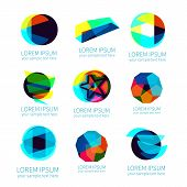 Set of different abstract vector logotypes poster