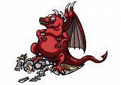 picture of jousting  - Illustration a cartoon triumphant dragon - JPG