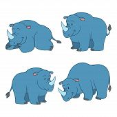picture of rhino  - Color Set of vector cute animals  - JPG