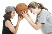 image of ball cap  - A Portrait of brother and sister with a basket ball - JPG
