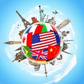 picture of flags world  - Famous monuments of the world surrounding flags - JPG