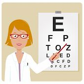 picture of snellen chart  - Vector Illustration of  a female ophthalmologist examining a patient using the eye chart - JPG