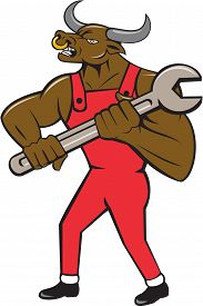 pic of minotaur  - Illustration of a minotaur bull mechanic standing looking to the side holding giant spanner set on isolated white background done in cartoon style - JPG