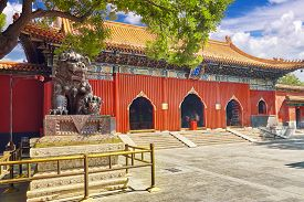 picture of lamas  - Bronze lion at the entrance to beautiful Yonghegong Lama Temple - JPG