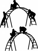 children silhouette vector