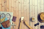 Concept Of Hipster Travel Traveler Travelling And Shopping On Wooden Table Background.copy Space And poster