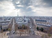 View From The Arc De Triumph Across Paris