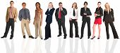 image of young adult  - a group of business people all isolated on white for use on backgrounds for business groups - JPG