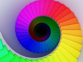 Colorful Spiral Stair To The Infinity.