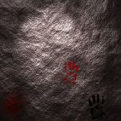 Hand prints upon a cave wall