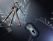 Código binário, chaves e um mouse de computador