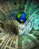 World swirling down a money drain