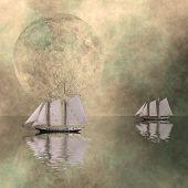 Постер, плакат: Корабли на еще море с большой Луны